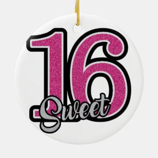 Pink Sweet Sixteen Round Ceramic Ornament