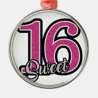 Pink Sweet Sixteen Silver-Colored Round Ornament