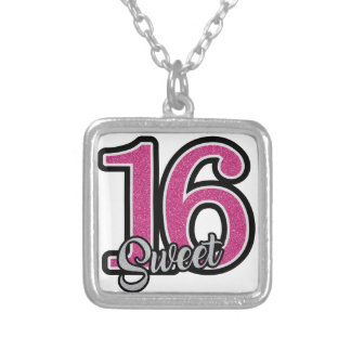 Pink Sweet Sixteen Silver Plated Necklace