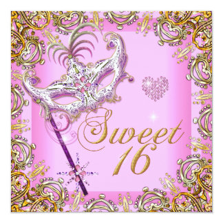 Pink Sweet Sixteen Sweet 16 Masquerade Gold 5.25x5.25 Square Paper Invitation Card