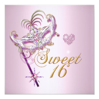 """Pink Sweet Sixteen Sweet 16 Masquerade Gold 5.25"""" Square Invitation Card"""