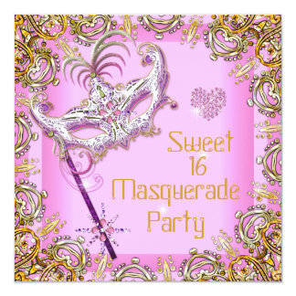 """Pink Sweet Sixteen Sweet 16 Masquerade Party 5.25"""" Square Invitation Card"""