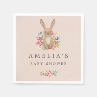 Pink Sweet Woodland Bunny Baby Shower Napkin Disposable Napkin
