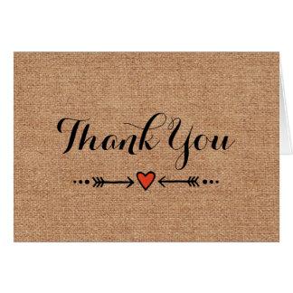 Pink Sweethearts & Arrows Burlap Thank You Card