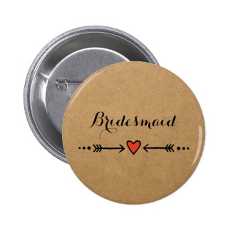 Pink Sweethearts & Arrows Rustic Bridesmaid's Gift 2 Inch Round Button