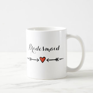 Pink Sweethearts & Arrows Rustic Bridesmaid's Gift Classic White Coffee Mug
