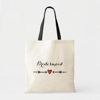 Pink Sweethearts & Arrows Rustic Bridesmaid's Gift Tote Bag