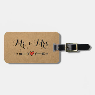 Pink Sweethearts & Arrows Rustic Style - Mr & Mrs Luggage Tag