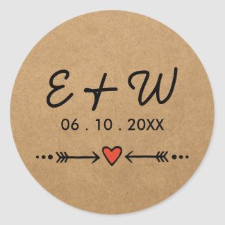 Pink Sweethearts & Arrows Rustic Wedding Initials Classic Round Sticker