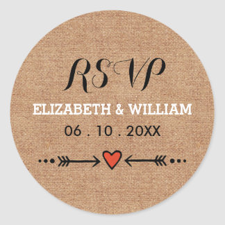 Pink Sweethearts & Arrows Rustic Wedding RSVP Classic Round Sticker