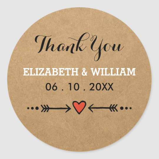 Pink Sweethearts & Arrows Rustic Wedding Thank You Classic Round Sticker