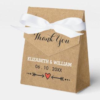 Pink Sweethearts & Arrows Rustic Wedding Thank You Favor Box