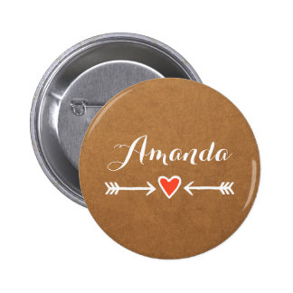 Pink Sweethearts & Arrows White Bridesmaid's Gift 2 Inch Round Button