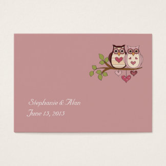 Pink Sweethoots Wedding Place Cards