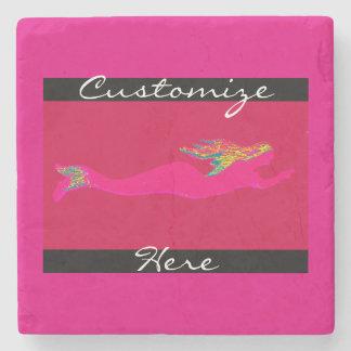 pink swimming mermaid stone coaster