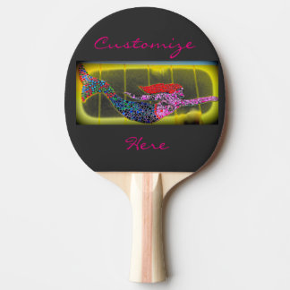 pink swimming mosaic mermaid ping pong paddle