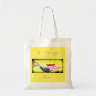 pink swimming mosaic mermaid tote bag