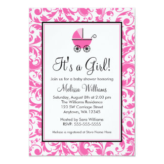 Pink Swirl Damask Carriage Girl Baby Shower Card