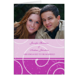 Pink Swirl Engagement Photo Announcement Card