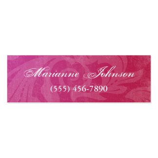 Pink Swirl Girly Grunge Skinny Profile Card Mini Business Card