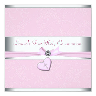 "Pink Swirl Heart Pink Cross First Communion 5.25"" Square Invitation Card"