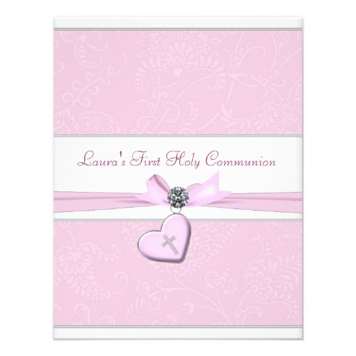 Pink Swirl Heart Pink Cross First Communion Announcement
