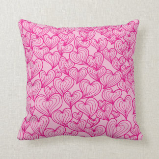 Pink swirl hearts pattern Throw pillow