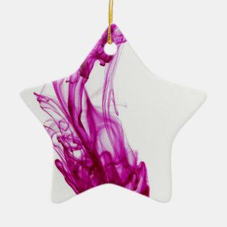 Pink Swirl Ink Drop Photography Ceramic Star Ornament