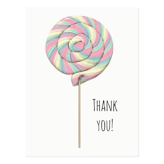 Pink Swirl Lollipop Postcard