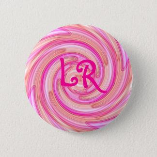 Pink swirl monogram 2 inch round button