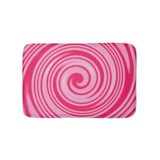 Pink swirl pattern bath mat