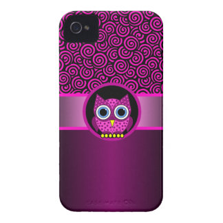 pink swirl pattern with owl iPhone 4 covers