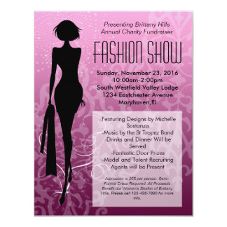 Pink Swirl Silhouette Fashion Show Invitations