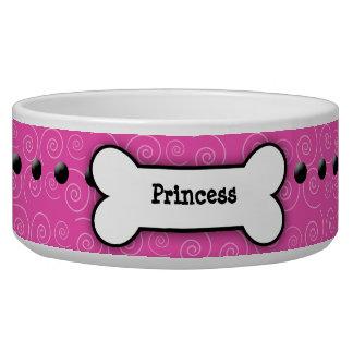 Pink Swirl Trendy Dog Bone Dog Dish Dog Food Bowl