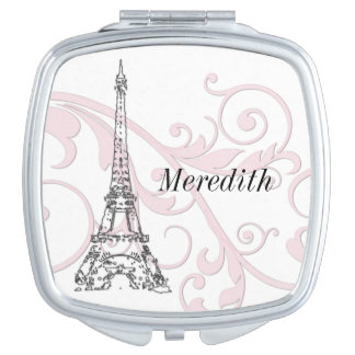 Pink Swirling Scrolls and Eiffel tower Compact Mirrors