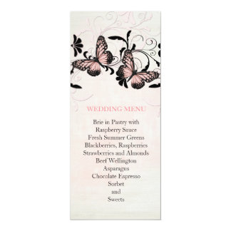 "Pink Swirls Butterfly Romantic Wedding Menu 4"" X 9.25"" Invitation Card"