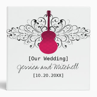 Pink Swirls Guitar Wedding Binder