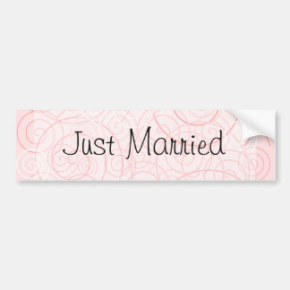 Pink Swirls Just Married Bumper Sticker