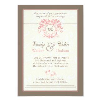 "Pink swirls on pale cream damask Wedding 4.5"" X 6.25"" Invitation Card"
