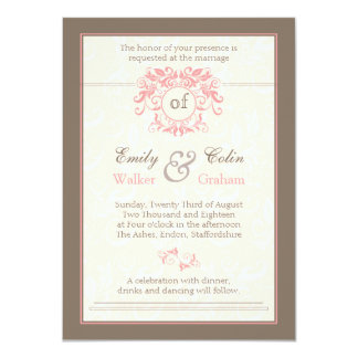 Pink swirls on pale cream damask Wedding Card