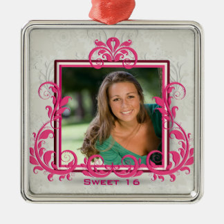 Pink swirls photo frame sweet sixteen ornament