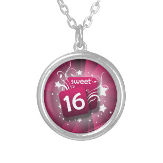 Pink Swirls Stars Sweet 16 Girls Birthday Round Pendant Necklace