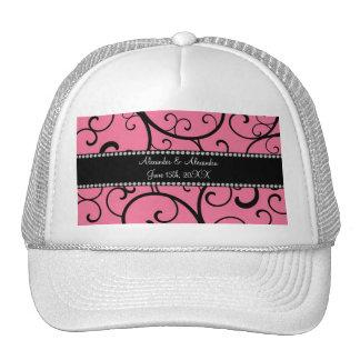 pink swirls wedding favors trucker hat