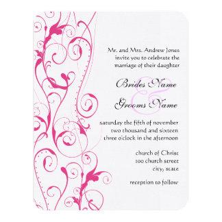 Pink Swirls Wedding Invitations Budget Sized Small