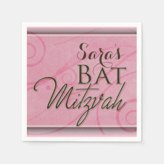 Pink swirly designer Bat Mitzvah Paper Napkins
