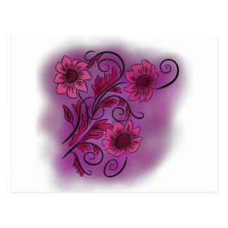 Pink Swirly Flowers Postcard