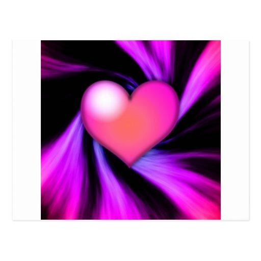 Pink Swirly Heart Postcard