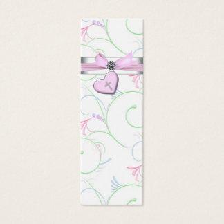Pink Swril Heart Pink Cross Bomboniere Tags Mini Business Card