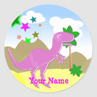 Pink T-Rex Dinosaur Name Stickers