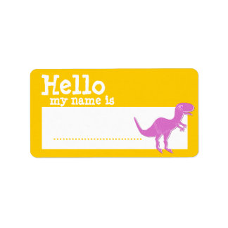 Pink T-Rex Hello My Name is Badge Personalized Address Label